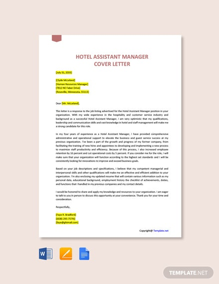 Free Hotel Assistant Manager Cover Letter Template