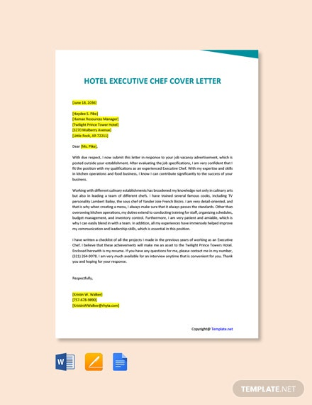 Free Hotel Executive Chef Cover Letter Template