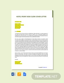 Free Hotel Front Desk Clerk Cover Letter Template