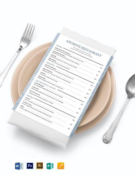 takeaway menu template