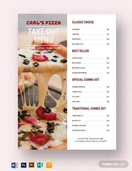 Takeaway Pizza Menu Template