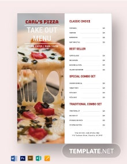 Takeaway Pizza Menu Template