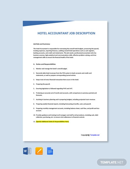 Free Hotel Accountant Job Ad/Description Template
