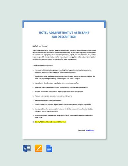 Free Hotel Administrative Assistant Job Ad/Description Template