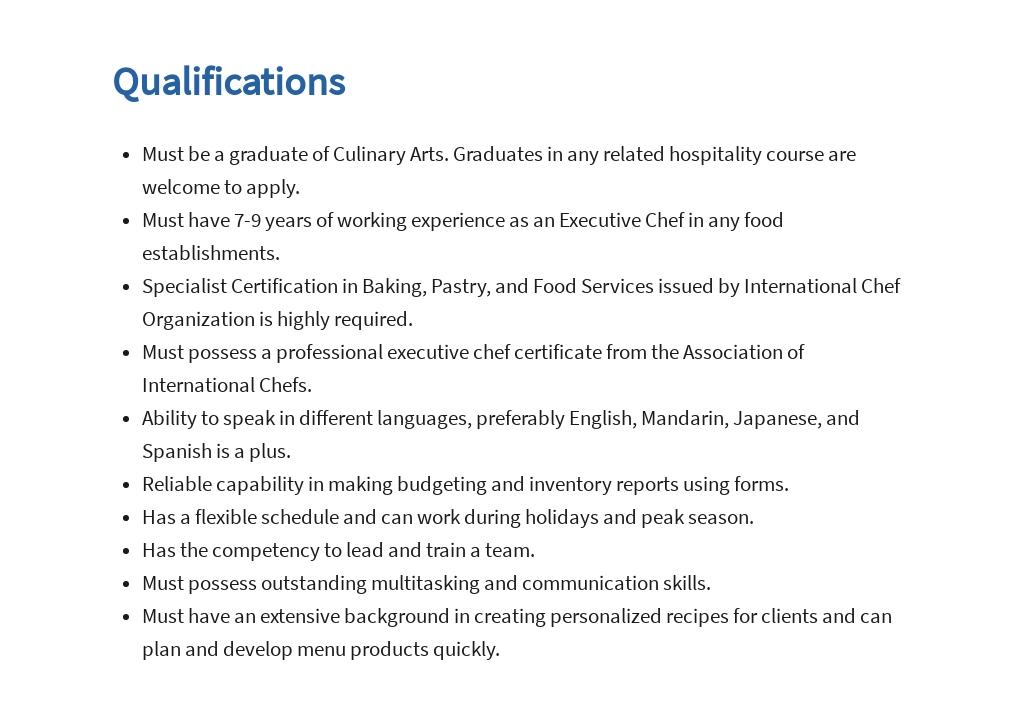 Free Hotel Executive Chef Job Ad/Description Template 5.jpe