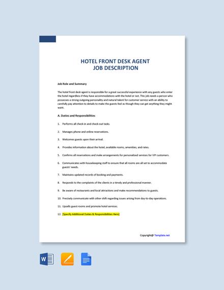Free Hotel Front Desk Agent Job Description Template