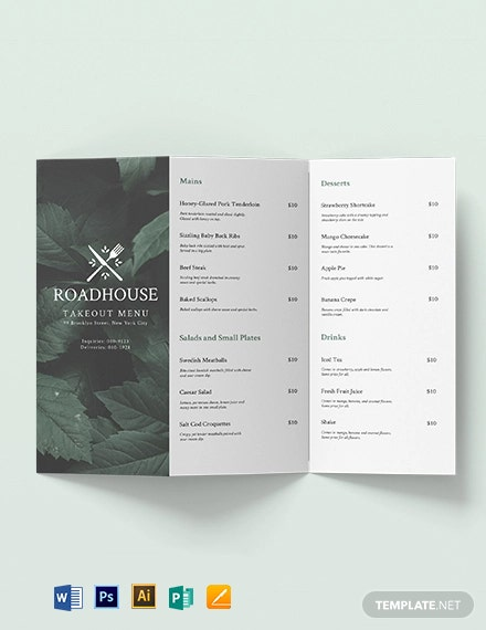 Tri-Fold Takeaway Menu Brochure Template