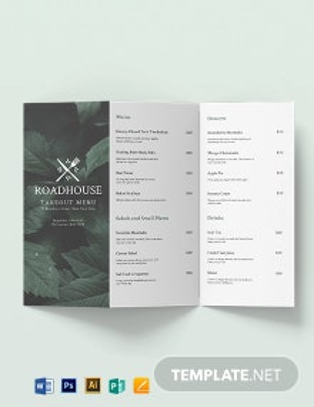 Tri-Fold Takeaway Menu Brochure Template