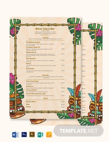 Tiki Cocktail Menu Template
