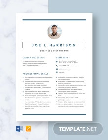 Business Instructor Resume Template