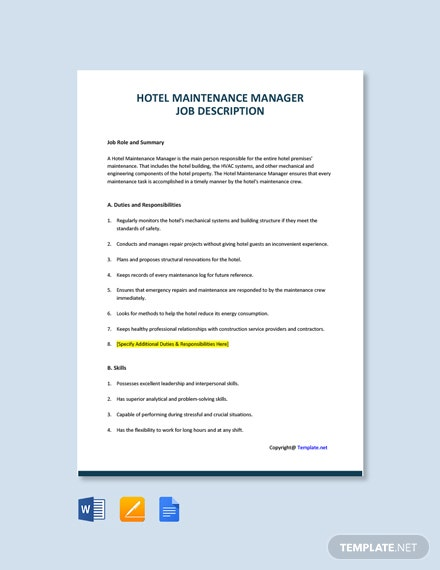 Free Hotel Maintenance Manager Job Ad/Description Template