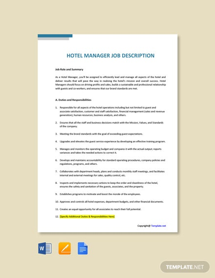 Free Hotel Manager Job Ad/Description Template