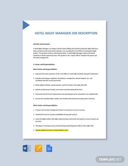 Free Hotel Night Manager Job Ad/Description Template