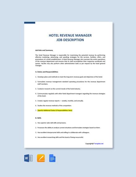 Free Hotel Revenue Manager Job Ad/Description Template