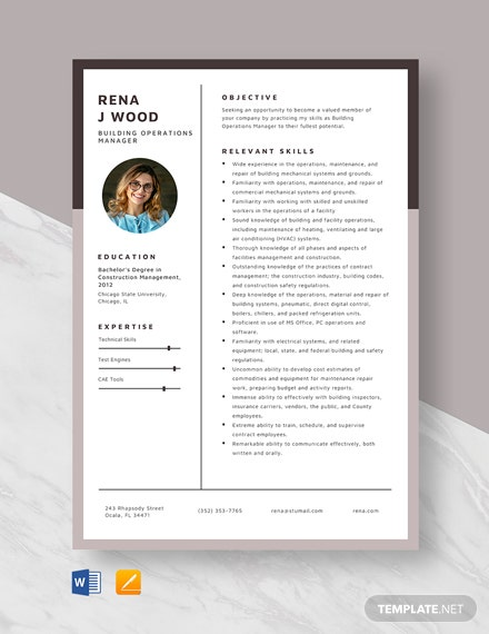 Building Operations Manager Resume Template