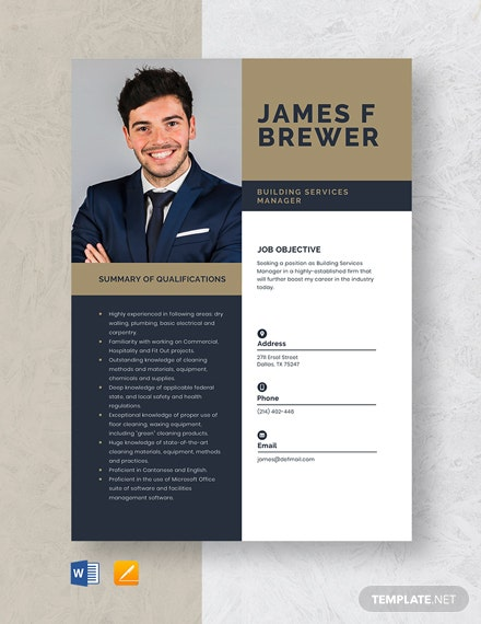 Building Services Manager Resume Template