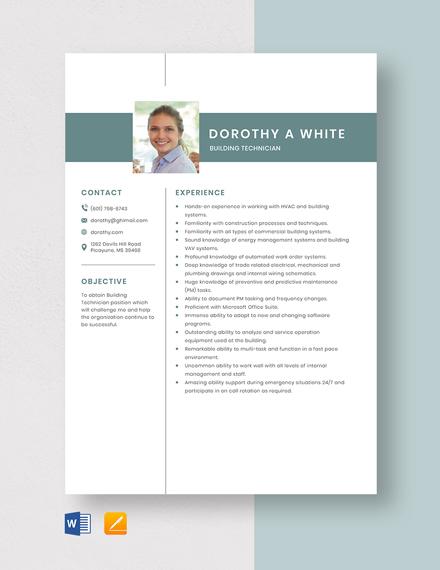 Building Technician Resume Template