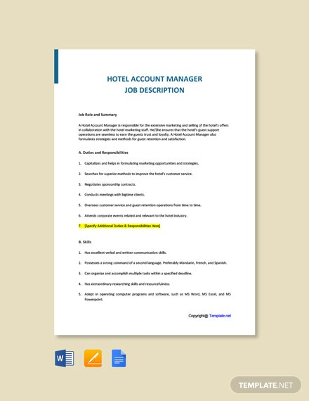 Free Hotel Account Manager Job Ad/Description Template