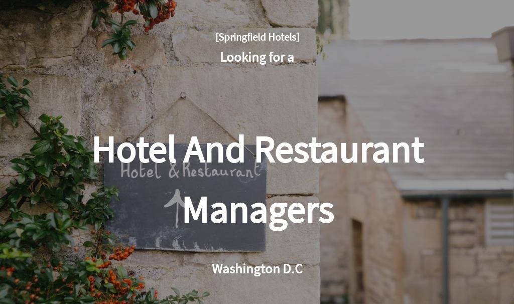 Hotel And Restaurant Management Job Ad/Description Template