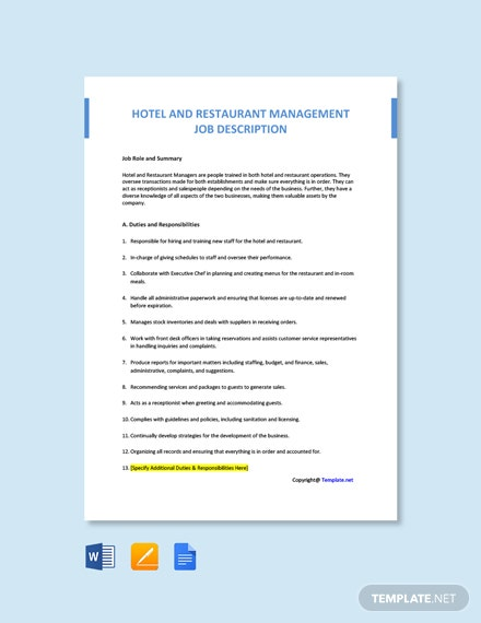 Free Hotel And Restaurant Management Job Ad/Description Template