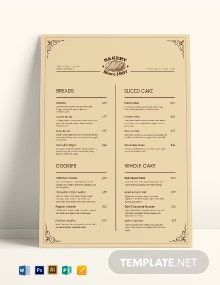 Vintage Bakery Menu Template