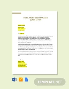 Free Hotel Front Desk Manager Cover Letter Template