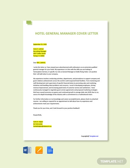 Free Hotel General Manager Cover Letter Template