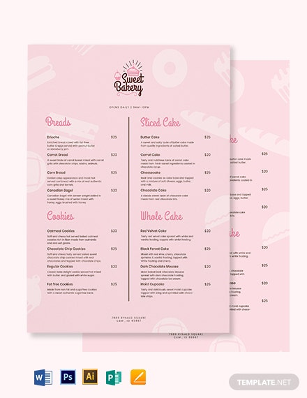 Sweet Bakery Menu Template