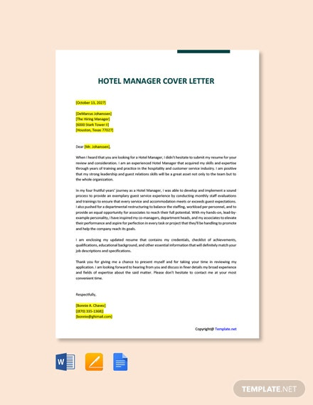 Free Hotel Manager Cover Letter Template