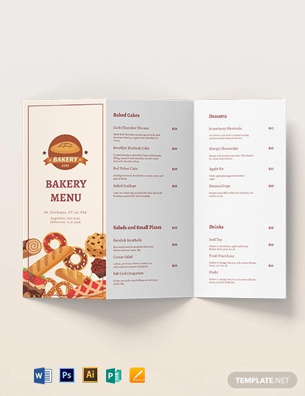 Bakery Brochure Menu Template