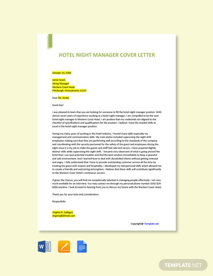 Free Hotel Night Manager Cover Letter Template