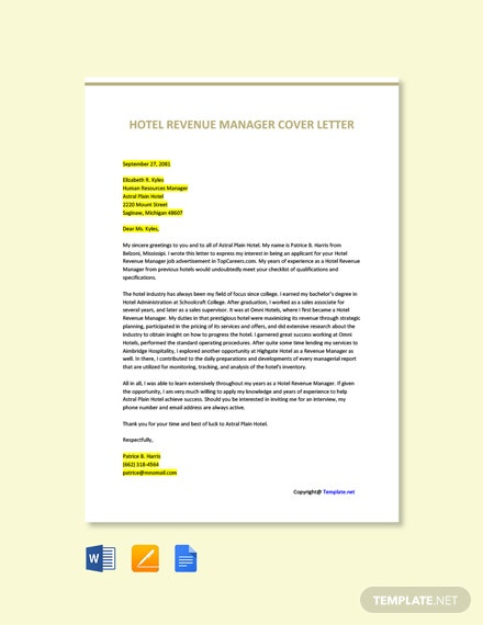 Free Hotel Revenue Manager Cover Letter Template