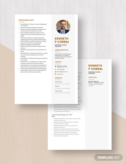 Business Change Manager Resume Download