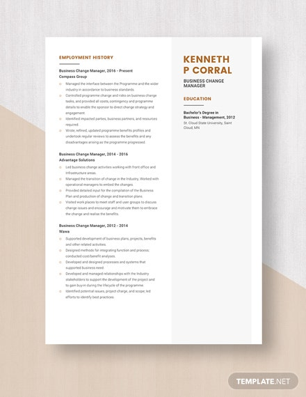 Business Change Manager Resume Template
