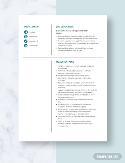 Business Continuity Manager Resume Template