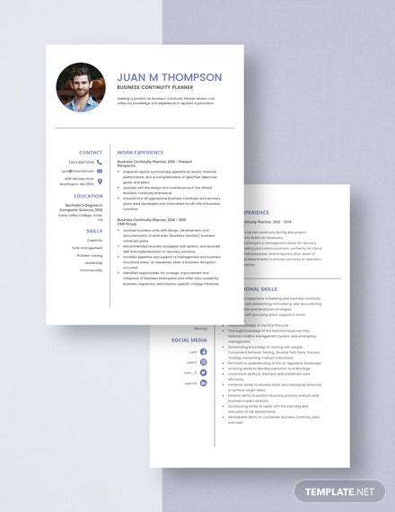 Business Continuity Planner Resume Download