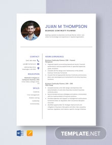 Business Continuity Planner Resume Template