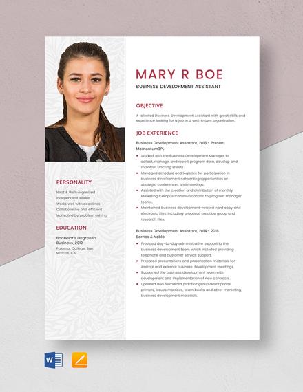 Business Development Assistant Resume Template