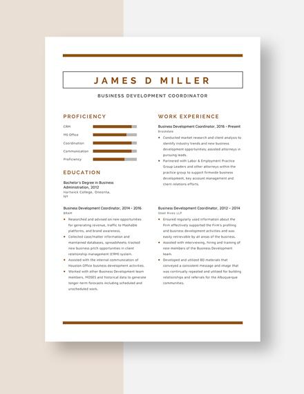 Business Development Coordinator Resume Template