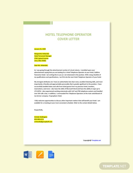 Free Hotel Telephone Operator Cover Letter Template