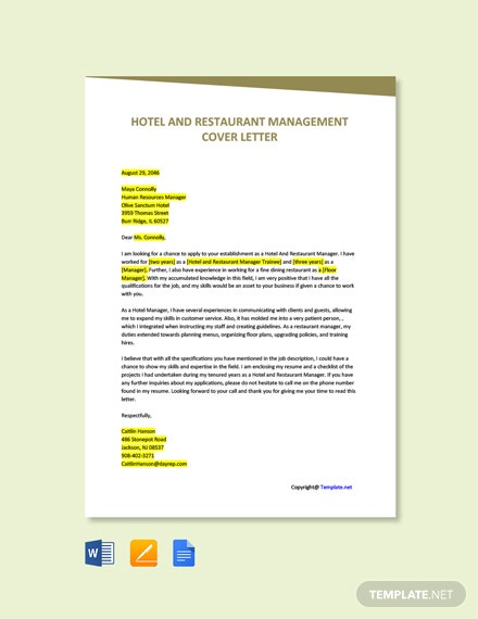 Free Hotel And Restaurant Management Cover Letter Template