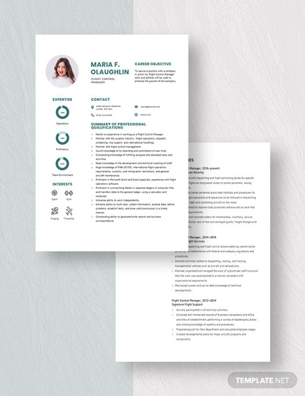 Flight Control Manager Resume Download