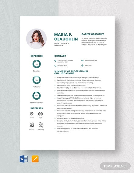 Flight Control Manager Resume Template