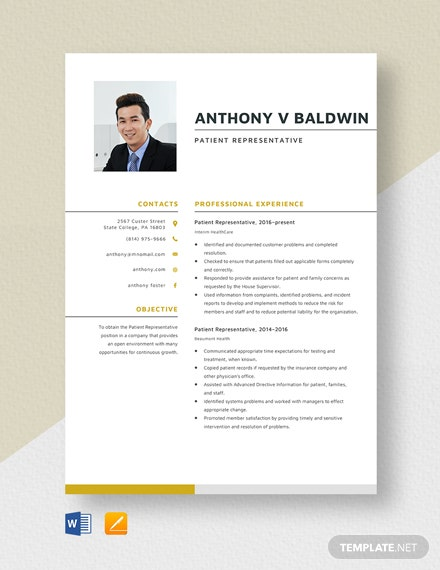 Patient Representative Resume Template