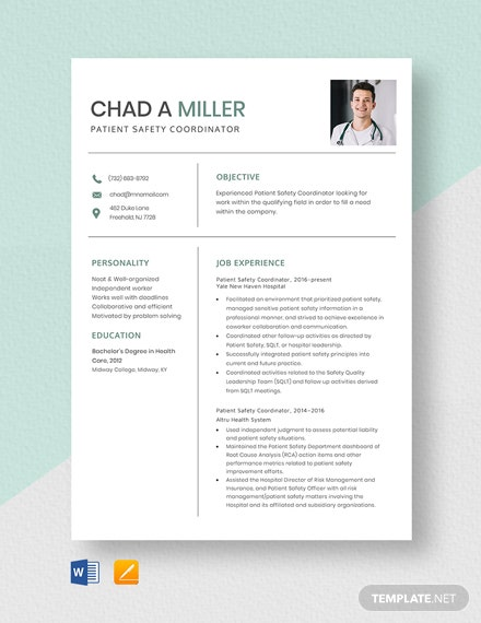 Patient Safety Coordinator Resume Template