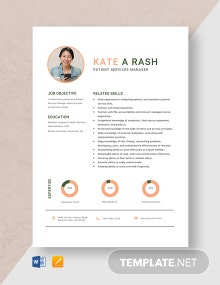 Patient Services Manager Resume Template