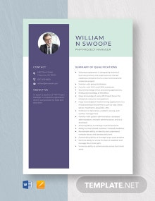 PMP Project Manager Resume Template