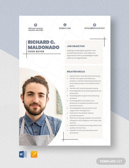 Food Buyer Resume Template