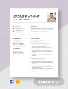 Patient Safety Manager Resume Template