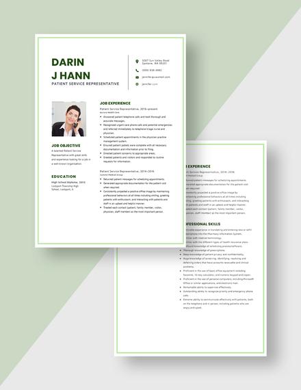 Patient Service Representative Resume Download